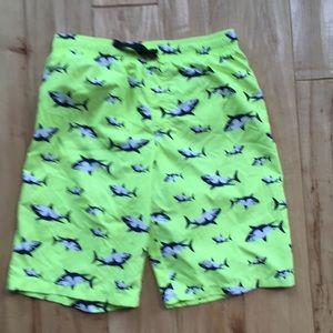 Neon yellow shark board shorts ( swim)